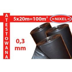 Folia IZOLACYJNO-BUDOWLANA czarna ATEST 0,3mm 5x20