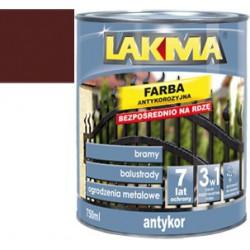 LAKMA FARBA ANTYKOROZYJNA 0,75 / 5L - BRAZOWY